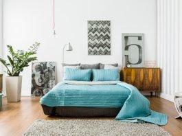 Schlafzimmer Wohnideen Blau Pflanze