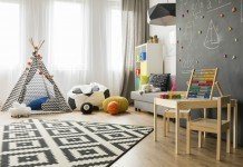 Wohnideen Kinderzimmer Wandtafel Zelt
