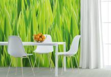 Fototapete Küche - Frisches Grün mit Gäser Motiv Idee