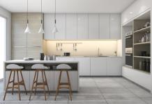 Moderne weisse Wohnküche
