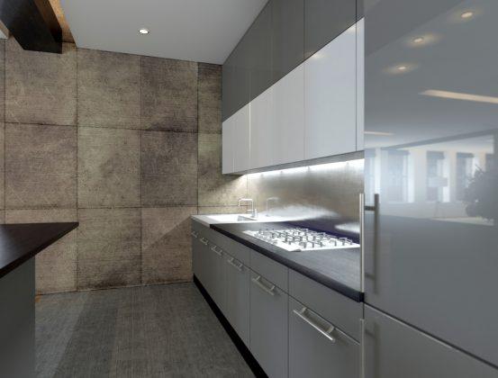 Küchen aus Beton und Stein - Betonwand