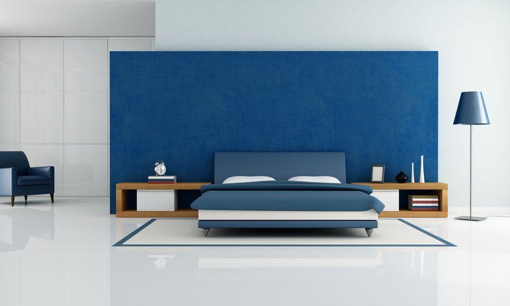 Wohnzimmer Und Schlafzimmer In Blau   Schlafzimmer