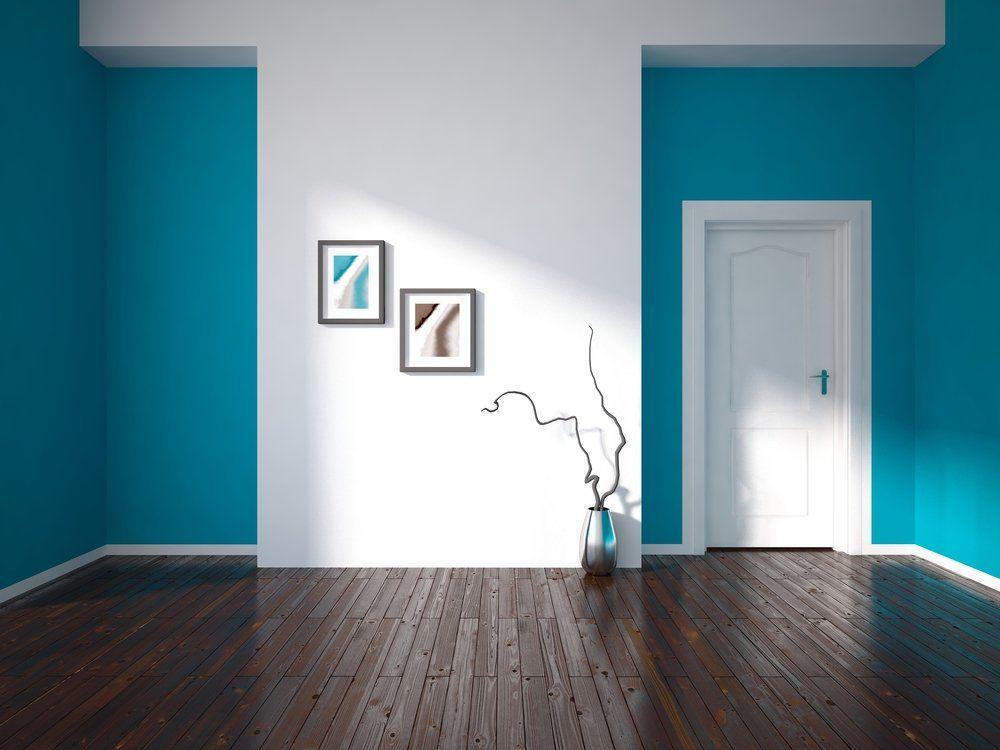 Wohnzimmer Und Schlafzimmer In Blau   Wandfarbe Weiss