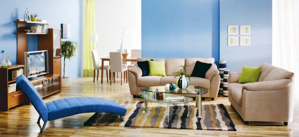 Wohnzimmer Und Schlafzimmer In Blau   Wohnzimmer Liege
