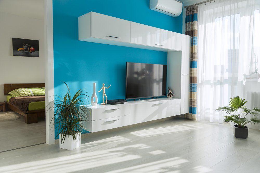 Wohnzimmer Und Schlafzimmer In Blau   Wohnzimmer Möbel