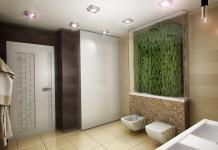 Badezimmer mit Grüner Deko PflanzenwandWand