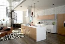 Wohnküche mit Wendeltreppe
