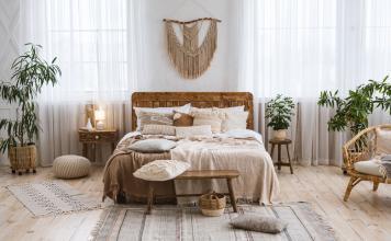 Boho Einrichtung Schlafzimmer - Pflanzen Möbel